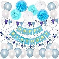 Nasjac 40pcs Globos de látex, Kit de decoración de fiesta de cumpleaños con globos blancos azules Banner de feliz cumpleaños Remolinos serpentinas Banderín de pompones de papel, Perfecto para niños hombres