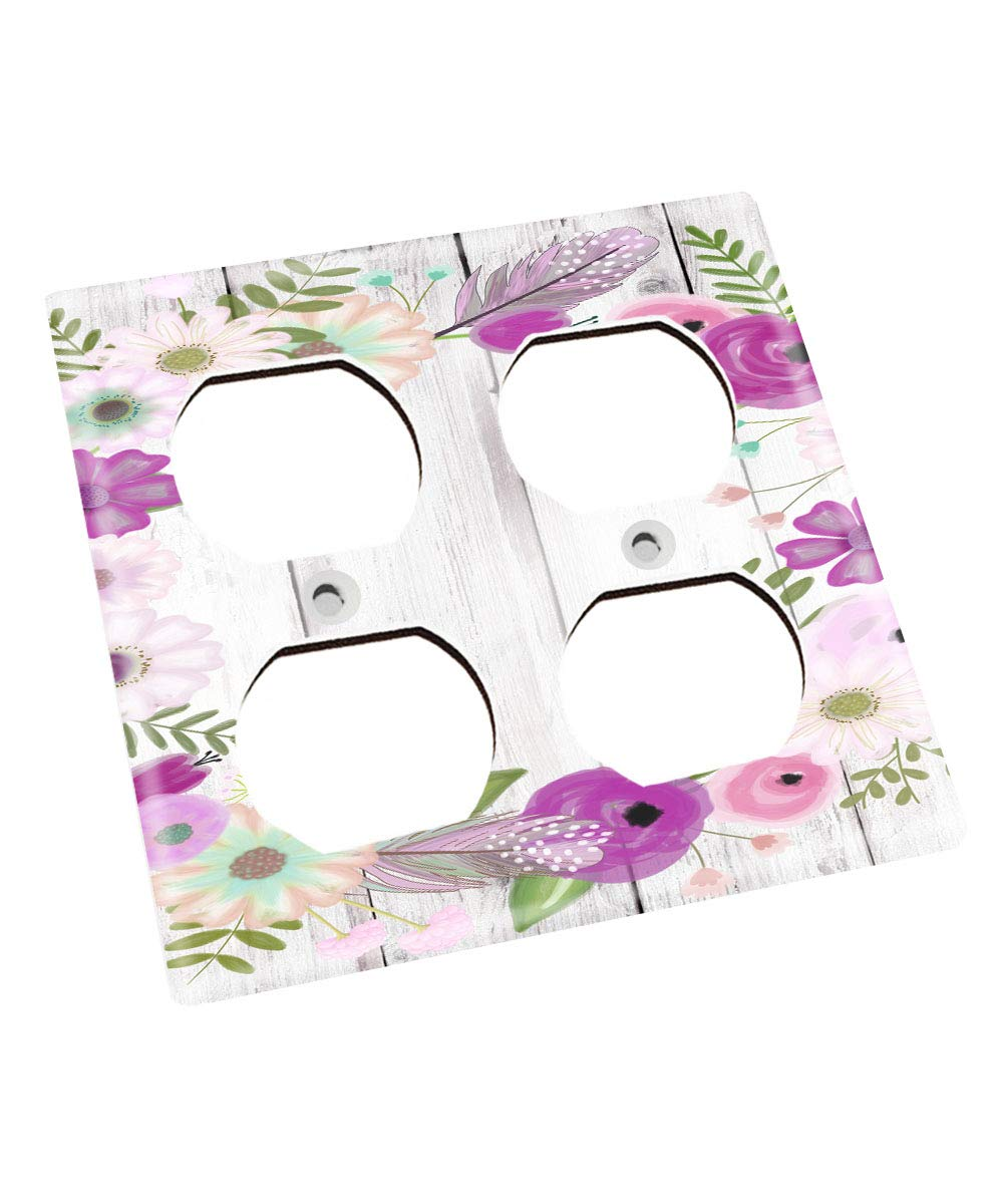 Pretty Purple Flowers Kids Nursery Bedroom Light Switch Cover LS0088 (Double Outlet) by Toad and Lily