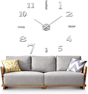 Sageme DIY Wall Clock, 3D Mirror Stickers Large Silent Wall Clock Home Office Decor Frameless Clock (Silver)