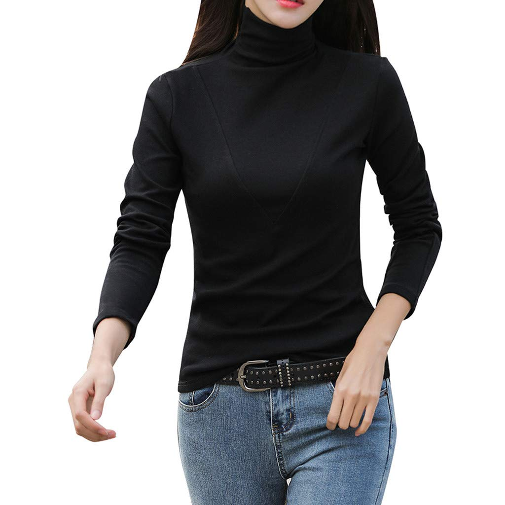 Goddesslili Blouses for Women Fashion 2019, Brushed Long Sleeve Top Solid Sweater Turtleneck Stretch Casual Bottoming Top, Back to School Essentials Muti Colors, Black Pink White Blouses