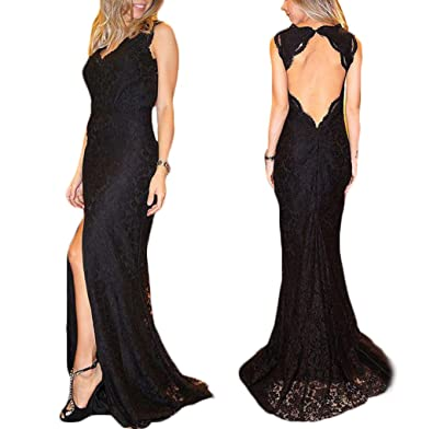 2017 Womens Sexy Backless Black Lace Prom Dress Side Slit Mermaid Long Plus Size