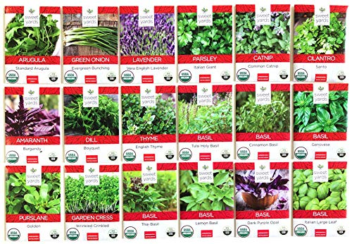Sweet Yards Seed Co Ultimate Organic Herb Seed Variety Pack - 18 Unique Packets of Non-GMO USDA Certified Organic Pure Seeds