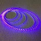 AMARS IP67 Waterproof 5M/16.4ft 3528 SMD 395nm-405nm LED UV/Ultraviolet Light Strip Fixtures Outdoor Indoor DC 12V Purple/Ultraviolet LED Lighting