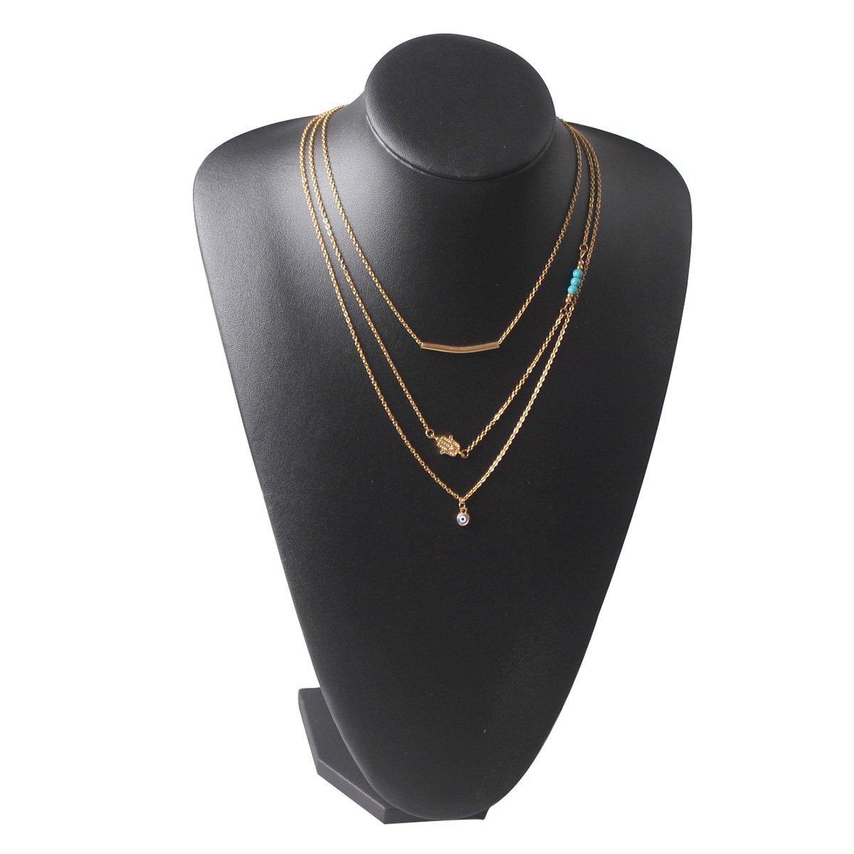Amazon.com: Collar con capas de cadena larga con Hamsa Mano ...