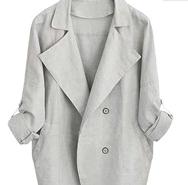 8a620b0a097 ouxiuli Women s Fashion Long Sleeve Lapel Collar Trench Outwear Jackets at Amazon  Women s Coats Shop