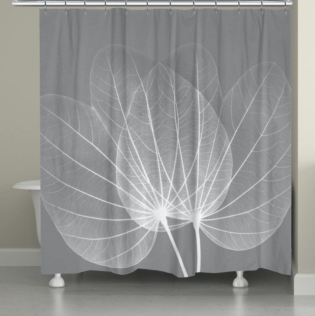 Laural Home GL72SC Grey Leaves Shower Curtain,Gray