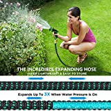 100 ft Expandable Garden Hose,Lightweight Garden Water Hose with 3/4 inch Solid Brass Fittings,Durable Outdoor Gardening Flexible Hose for Yard,Expanding Garden Hoses 9 Function Spray Nozzle (100FT)