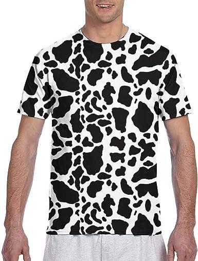 Estampado de Vaca (4) Camiseta de Manga Corta de algodón atlético ...