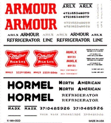 Armour Decals - Woodland Scenics Dry Transfer Decals HO Scale Armour/Miller/Hormel Reefer Cars by Woodland Scenics