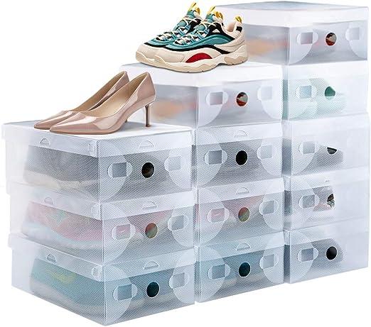 PERFETSELL 12 STK Schuhboxen Transparent Schuhe Box Plastik Schuhaufbewahrung Box Stapelbar Aufbewahrungsbox Schuhe Kunststoff Schuhorganizer