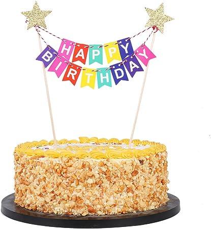 Amazon.com: QIYNAO - Mini pancarta de cumpleaños para ...