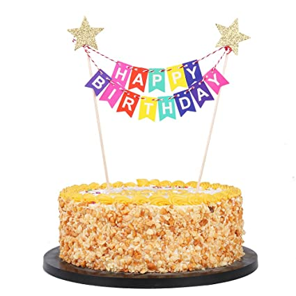 Amazon QIYNAO MiniHappy Birthday Banner Cake TopperParty Decoration Supplies Colorful Kitchen Dining