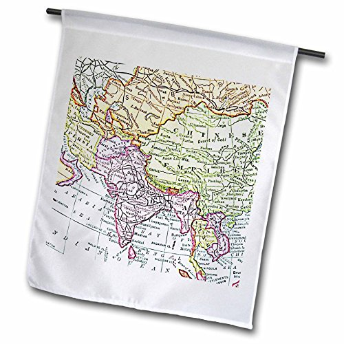 3dRose fl_112940_1 Vintage Map of India China Siam and Persia Faded Look Historic Travel Geography Retro World Maps Garden Flag, 12 by (Faded Chino)