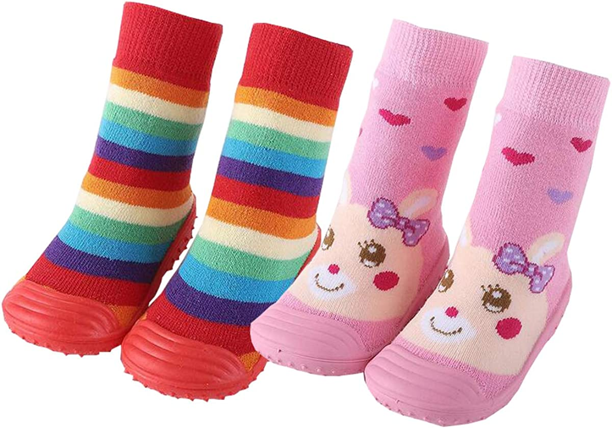 2 Pairs Baby Socks Anti Skid Rubber Soft Sole Infant Slippers Prewalker Shoes