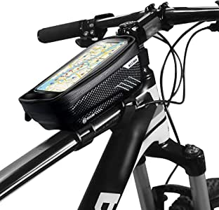 Honeytecs Bike Phone Bags with Touch Screen Phone Holder Case Waterproof Bicycle Front Frame Top Tube Mount Handlebar Bags Bike Storage Bag Cycling Pack