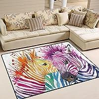LORVIES Rainbow Zebra Area Rug Carpet Non-Slip Floor Mat Doormats for Living Room Bedroom 63 x 48 inches