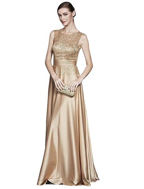 7af51d71a338c Beauty-Emily Una línea de lentejuelas encaje O-Cuello sin mangas de los  vestidos de noche  Amazon.es  Ropa y accesorios