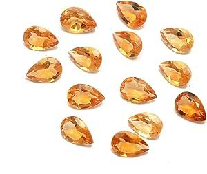 eGemCart Natural Citrino 9x6mm de Forma Pera Facetas Cortar la Piedra Preciosa Floja para la fabricación de Joyas | Calidad AAA tamaño calibrado 1mm a 10mm Pera Piedra semipreciosa