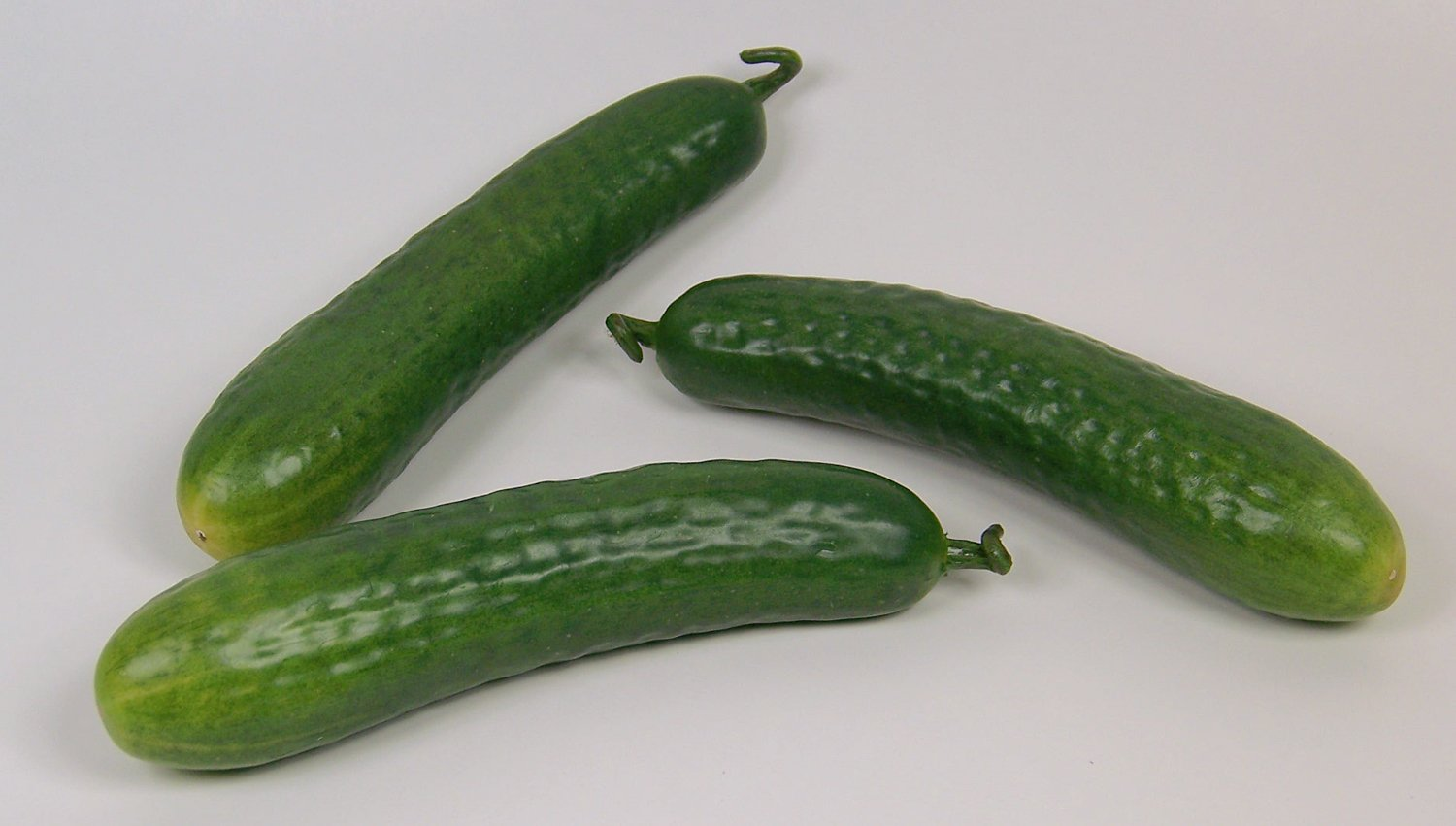 Designer-Decorative-Two-2-Artificial-Faux-Fake-Small-Cucumber-Vegetable