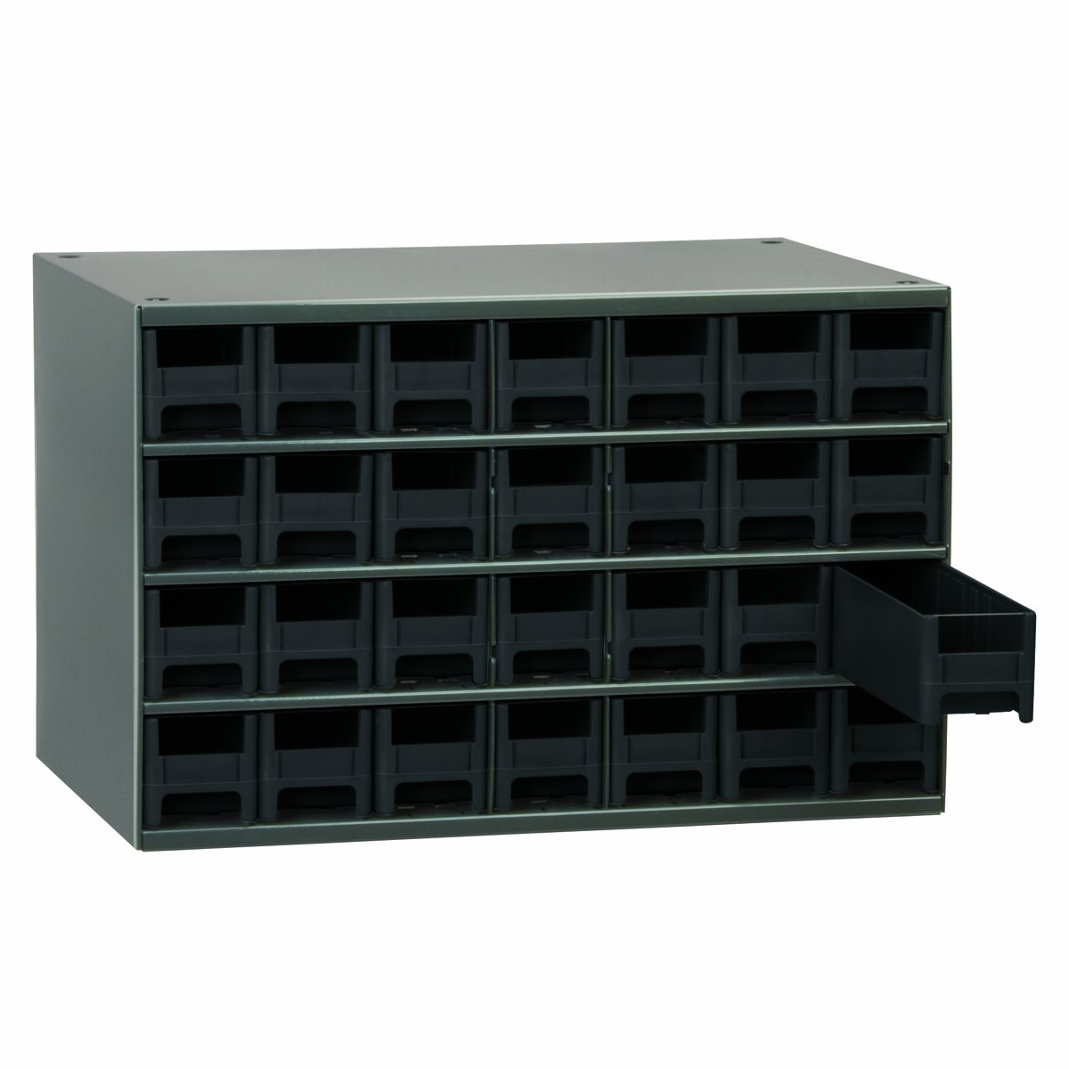 Akro-Mils 19228 17-Inch W by 11-Inch H by 11-Inch D 28 Drawer Steel Parts Storage Hardware and Craft Cabinet, Black Drawers