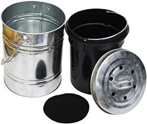 Kitchen Stainless Steel Compost Bin for Kitchen Countertop - 1.3Gallon Compost Bucket for Kitchen with Lid - Includes 1 Spare Charcoal Filter