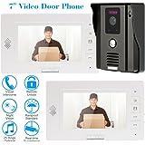 KKMOON Video Interphone Intercom Sonnette Visuelle de Porte avec 1pcs CCTV Camera Extérieure Sécurité Imperméable + 2pcs 7inch Moniteurs Intérieurs Surveillance TP01H-12