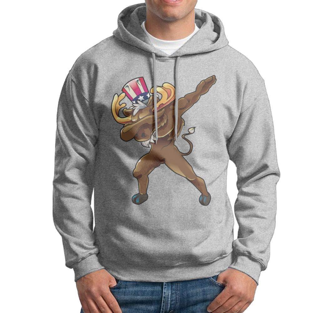Arsmt Moose Dabbing Hooded Sweatshirt Long Sleeve Pullover Mens