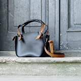 Handmade & Handstiched Leather Designer Tote Bag, Black & Whiskey, NEW