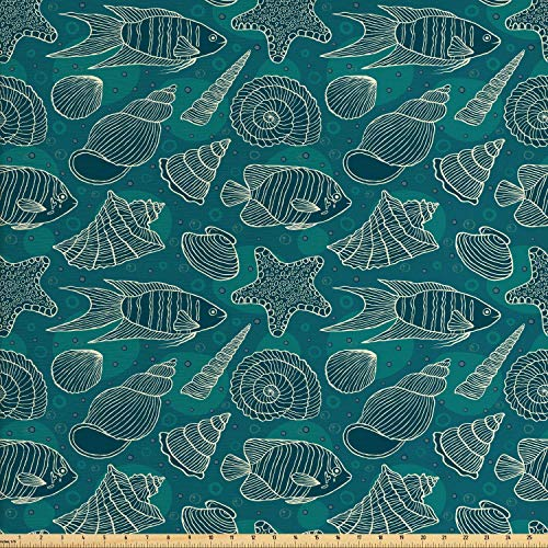 COVASA Sea Shells Fabric by The Yard, Nautical Ocean Pattern Underwater World Sea Life Theme Sketch Style, Decorative Fabric for Upholstery and Home Accents, 1 Yard, Petrol Blue Teal Beige