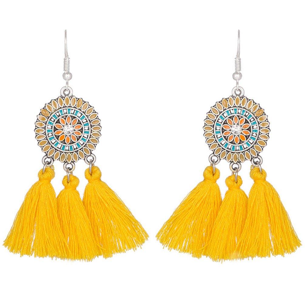 Bohemia Tassels Dangle Earrings Girls Elegant Teens piercing Eardrop Yellow