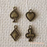 Puffed Playing Card Suits Charms - Antique Brass Color 4pcs Assorted - Deco Parts Poker Spade Heart Club Diamond Beads Accessories Craft DIY - 1set/ 5sets (1 set - 4pcs/set)