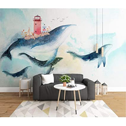 Amazon Com Hwhz Children S Room Wall Papers Cartoon Painted Whale