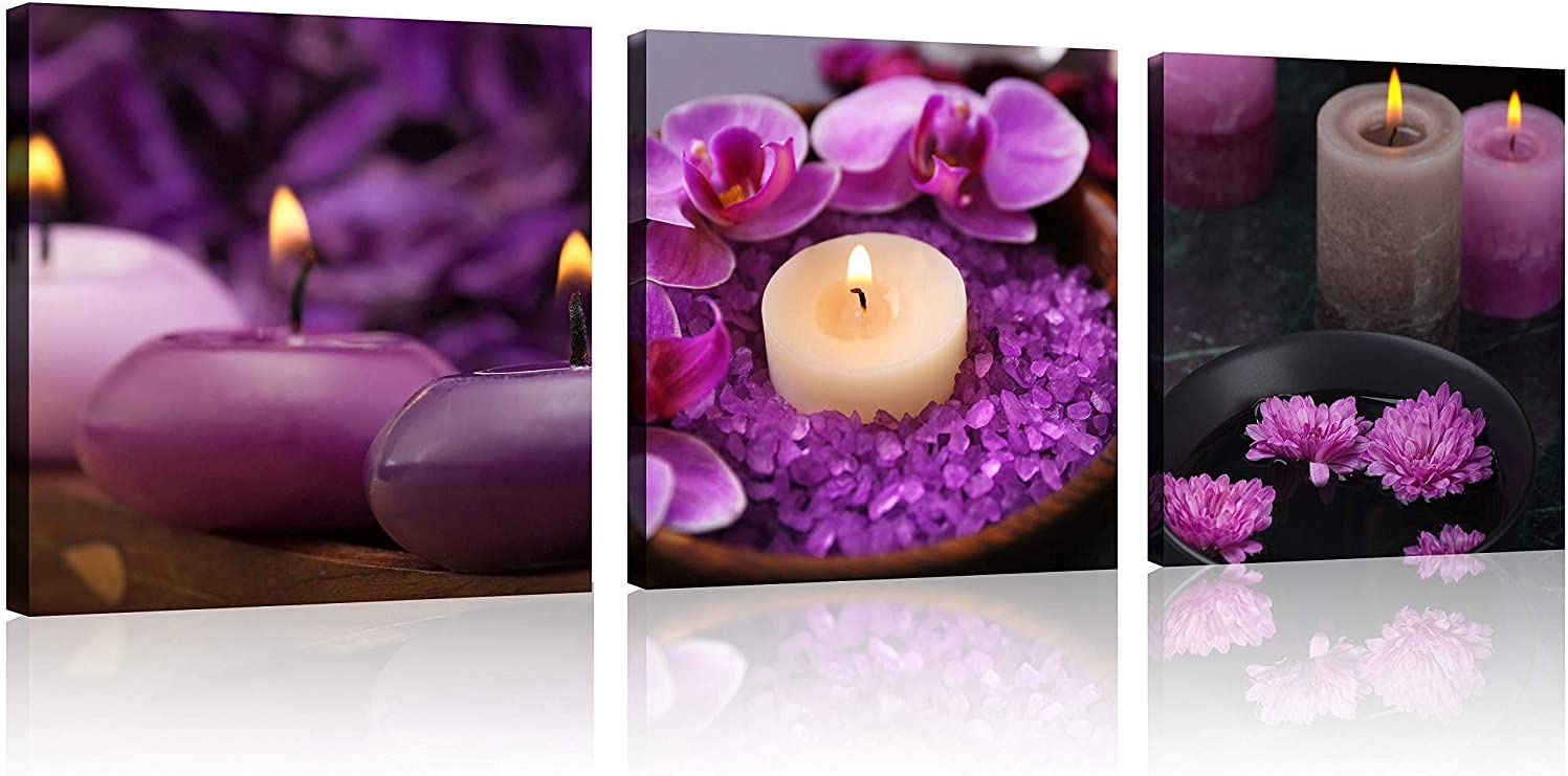 TutuBeer 3 Panels Spa Decor Zen Decor Purple Wall Art Still Life Purple Flowers Candles Spa Pictures Prints on Canvas for Home Office Kitchen Wall Decor Stretched and Framed Each Panel 12x12inch