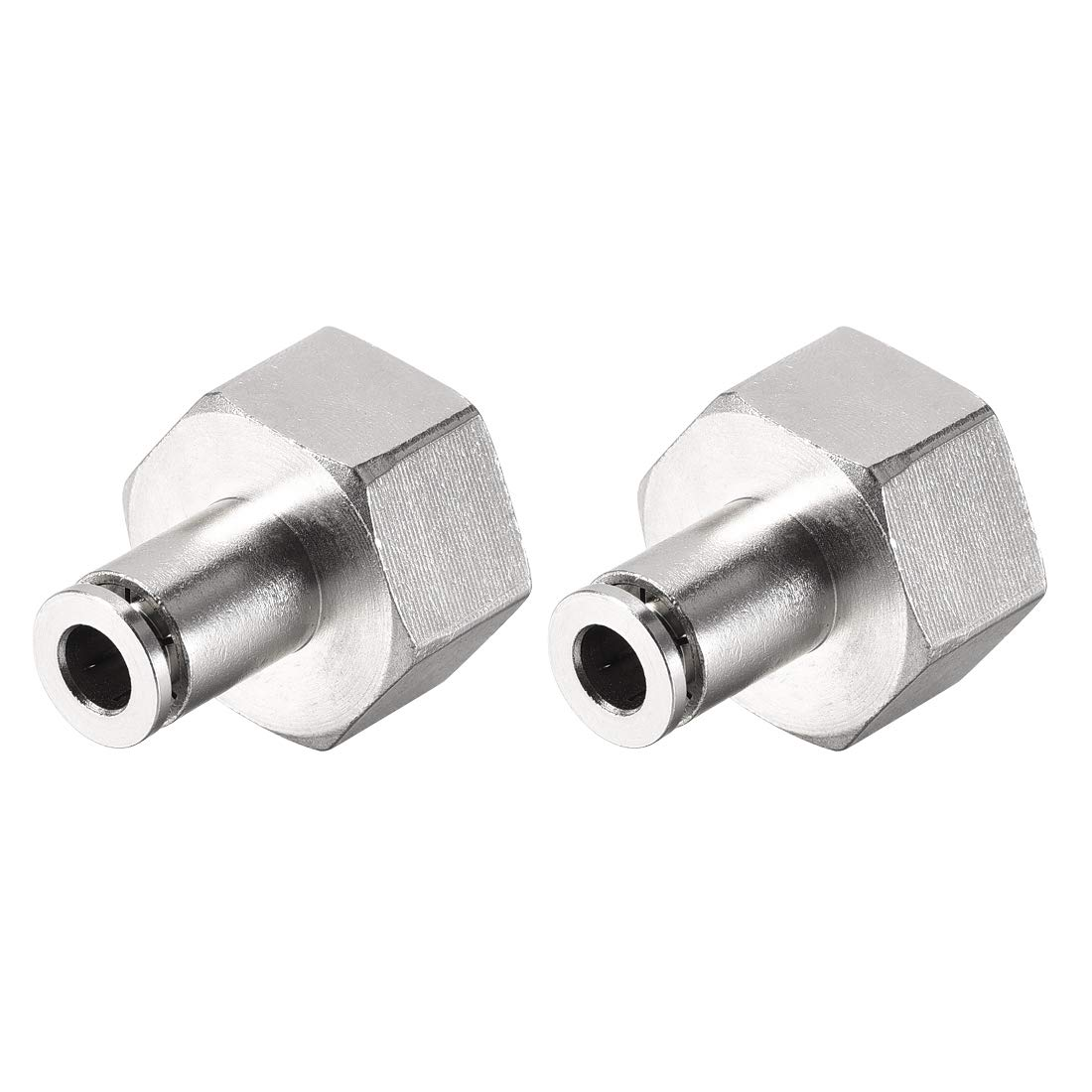 uxcell Push to Connect Tube Fittings 6mm Tube OD x 1//2 PT Female Straight Pneumatic Connecter Pipe Fitting Silver Tone 2Pcs