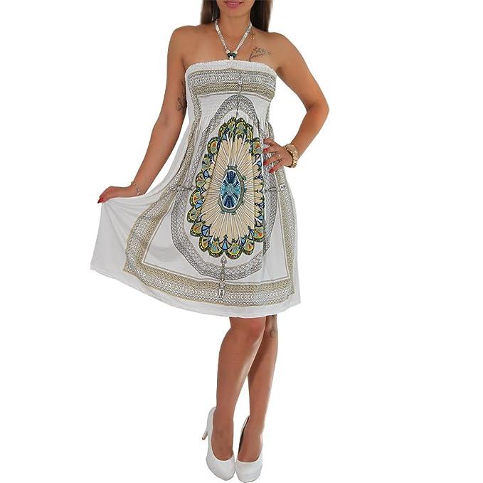 Sommer Bandeau Kleid Holz-Perlen Etno Strandkleid Tuchkleid Tuch Aztec Ranke  (10 Weiss)