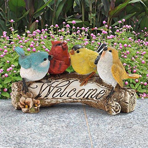 Design Toscano Birdy Welcome Sign  Garden Bird Statue, 10 Inch, Polyresin, Full Color from Design Toscano