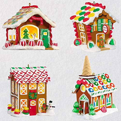 Hallmark Gingerbread Village Ornaments with Light, Set of 4 Buildings & Houses,Snowmen,Eat & Drink ()