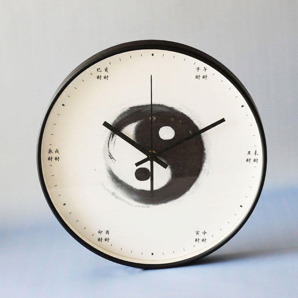 中国語の単語古代の金属シェル静かな壁の時計の寝室リビングルーム簡単な人格 (Color : Tai chi) B07D5PQ9RT Tai chi Tai chi