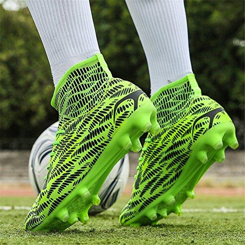 Scurtain Youth & Mens Hoge Top Spike Voetbalschoen Schoenplaten Sport Atletische Outdoor Training Voetbalschoenen Groen