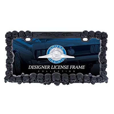 United Pacific Industries 50116 Black Skull License Plate Frame: Automotive