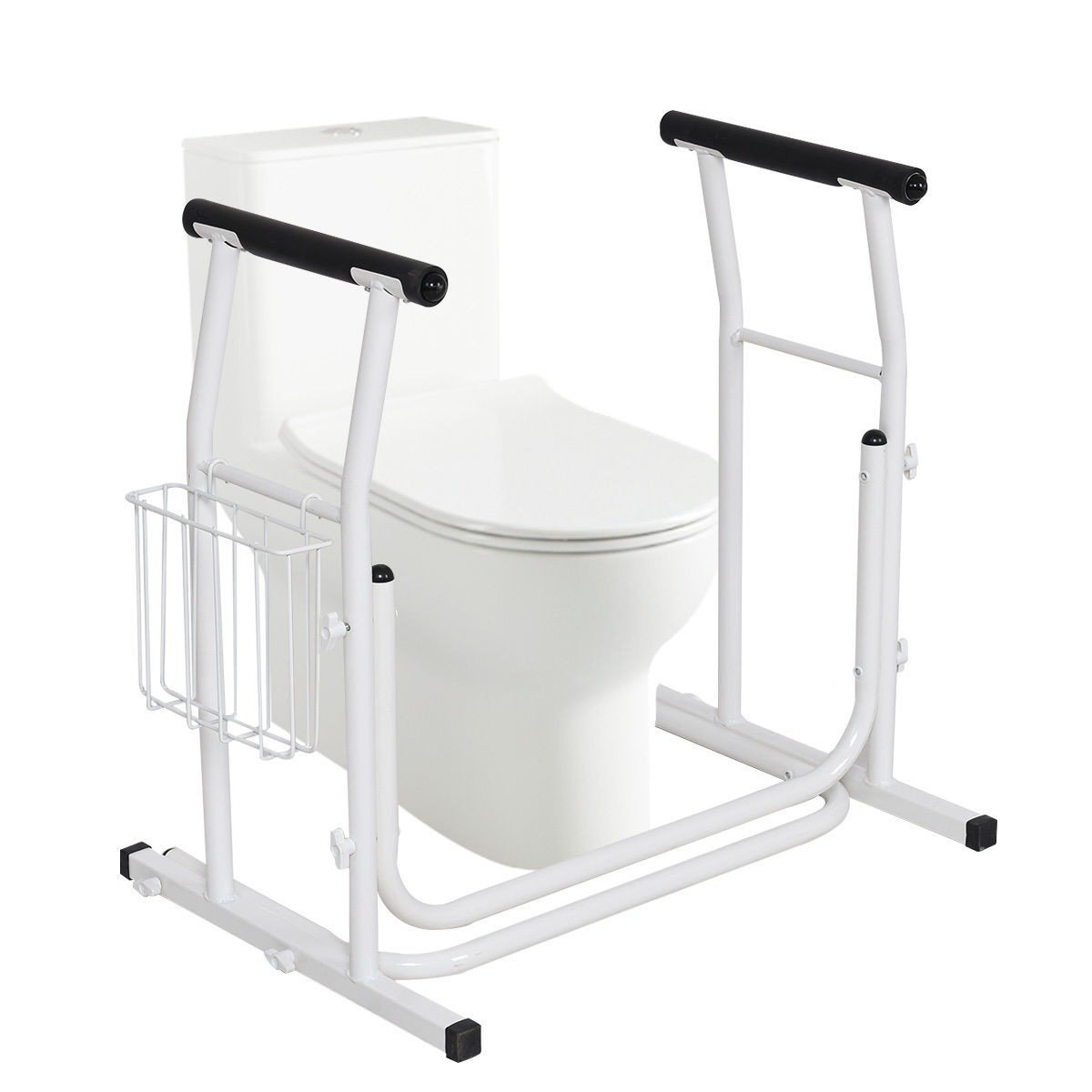 Medical Bathroom Toilet Rail Grab Bar and Commode Safety Frame Handle for Elderly, Senior, Handicap & Disabled - Padded Handrails