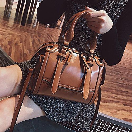 Gunaindmx Shoulder Bag Messenger Bag Handbag Bag Large Bag Woman Travel Bag Casual Messenger Bag Wild Shoulder Bag Boston Bag Large Capacity, Brown Brown