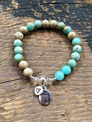 Womens Gemini Zodiac Bracelet with Moon Sign and Air Element Charms for Inner Peace