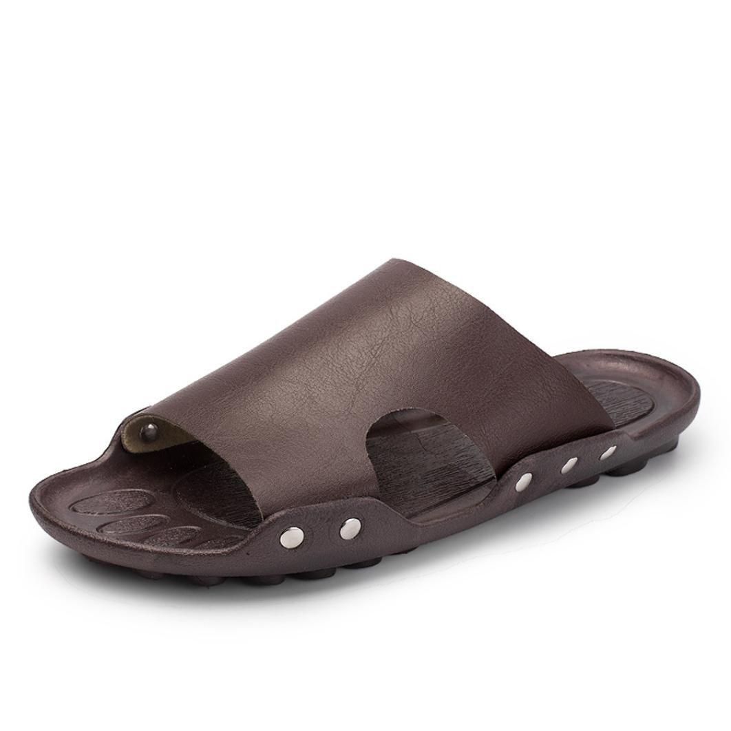 ホットセール。 メンズフリップフロップ、neartimeカジュアルビーチ通気性スリッパソリッドカラーサンダルホームフラット足首低靴 7 ブラック NE B07BDMH514 7 ブラウン ブラウン 7