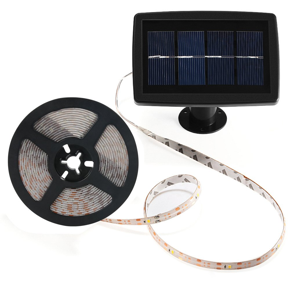 Solar Strip Lights Beswill 164 Feet Led Flexible And Panel Wiring Diagrams Besides Battery Charger Circuit On Cuttable String Waterproof Ip 65 2 Modes Auto Off Light Strips For