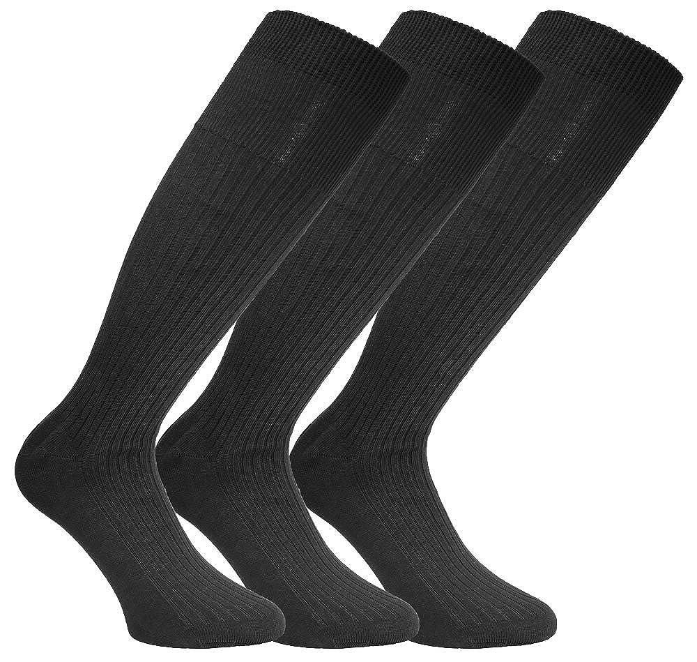 Socks Uwear Mens Long Ribbed Antimicrobial 100% Cotton Socks MSOX-WH1133-3PK-6-11-Blacks