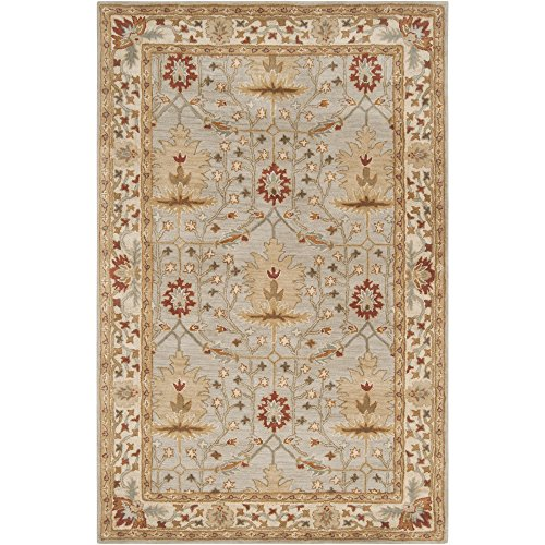 Surya Bungalo BNG-5014 Classic Hand Tufted 100% New Zealand Wool Silvered Gray 5' x 8' Arts and Crafts Area (Arts & Crafts Rug)