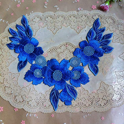 1pc Blue Series Lace Neckline Collar Flower and Circular Lace Applique Trim, Lace Fabric Sewing Supplies -