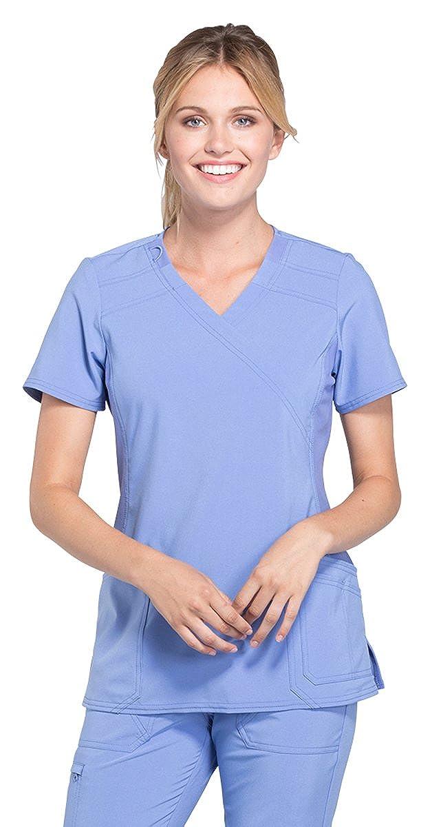 Ciel bluee Cherokee iFlex Women's Mock Wrap Soft Side Panel Solid Scrub Top