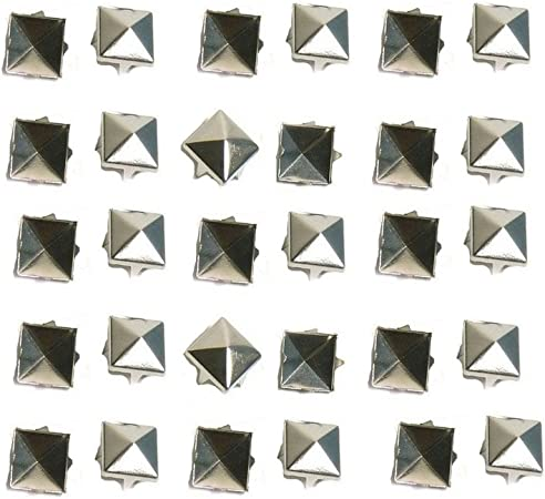 Ecloud Shop/® 100 Silver 10mm Leathercraft DIY Round Studs Spots Spikes Rivets Goth Punk